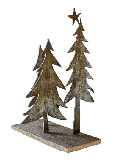 Metal Christmas trees mounted on wood